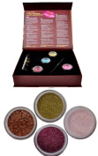 Itay Beauty Shine Bright eye shadows Kit (4 eye shadows glitters + gel sparkle +premium duo brush )