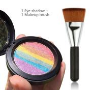 Travelmall Rainbow Cake eyeshadow blush makeup rainbow highlighter & one matching makeup brush