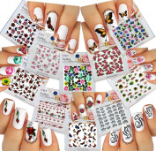 Nail Art Water Slide Tattoo Stickers Decals ♥ Fish ♥ Butterflies ♥ Flowers ♥ Hummingbirds ♥ 10 - Pack /IM-V/