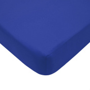 TL Care 100% Cotton Percale Fitted Crib Sheet, Royal, 70cm x 130cm