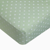 TL Care 100% Cotton Percale Fitted Crib Sheet, Celery/White Dot, 70cm x 130cm