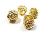 Foxy Findings 2 Pieces Basket Textured Beads, 24K Gold Plated Large Brass Beads - SFG011