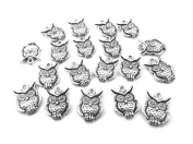 Set of Twenty (20) Silver Tone Pewter Owl Charms