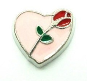 Cherityne Red Rose on Pink Heart Floating Charm for Locket Pendants