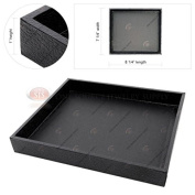 Black Wooden Square Display Sample Tray Covered Faux Leather Storage Organiser