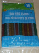 Crafters Square Mini Glue Sticks - Glitter - Red, Green, Gold, Silver - 15 sticks in package
