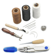 7 Tools Leather Carft Hand Stitching Sewing Tool Kit Thread Awl Waxed Thimble Ring Coffee