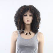 STfantasy 48cm Fancy Dress Costume Adults Black (Highlight Brown) Disco Short Curly Big Afro Wig For Black Women