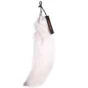 URSFUR Super Huge Blue Fox Tail Fur Cosplay Toy Bag Accessories Key Chain Hook