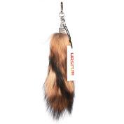 URSFUR 28cm Ussuri Raccoon Tail Fur Handbag Accessories Key Chain Hook Tassels