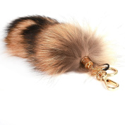 URSFUR 28cm Ussuri Raccoon Tail Fur Handbag Accessories Key Chain Hook Tassels