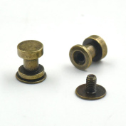 50 Sets 6x7mm Brass Head Button Stud Screwback For Rivet Leather Screw Chicago nail Bronze