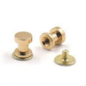 50 Sets 6x7mm Brass Head Button Stud Screwback For Rivet Leather Screw Chicago nail Gold