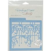 Rebecca Baer Stencil 15cm x 15cm -Flourish & Drop Border