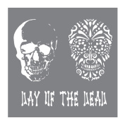 Andy Skinner Mixed Media Stencil - Day of the Dead - 20cm x 20cm