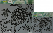 The Crafter's Workshop Set of 2 Stencils - Sea Turtles 30cm x 30cm Mini 15cm x 15cm - Includes 1 each TCW610 and TCW610s - Bundle 2 Items