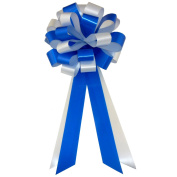 Royal Blue & White Wedding Pull Bows with Tails for Church Pews and Chairs - 20cm Wide, Set of 6