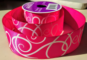 Pink Signature Pattern Celebrate It 3.8cm . X 3.7m 100% Polyester Ribbon - Great for Any Occasion!