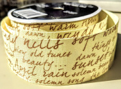 Cursive Handwritting Pattern Celebrate It 3.8cm . X 3.7m 100% Polyester Ribbon - Great for Any Occasion!
