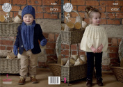 King Cole Childrens Knitting Pattern Girls Cape Boys Scarf Hat & Mittens Fashion Aran
