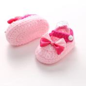 Franterd Baby Girls Knit Shoes Crochet Handmade Soft Bottom Walkers Prewalker