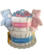 2 Tier Twin Baby Nappy Cake, Twin Baby shower Centrepiece, Twin baby gift, Twin baby Nappy Cakes, Blue and Pink Nappy Cake