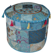 Designer Embroidery Patchwork Cotton Round Ottoman Cover 18 x 46cm x 36cm