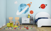 Planets Rocket Theme - Galaxy Boy Girl Mural - Baby's Mural Room Vinyl Sticker Wall Decal