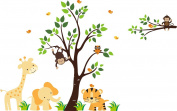 Orange Animal Decals - Orange Themed Nursery Decor - Reusable Wall Decals
