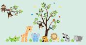 Safari Animal Wall Decals - Nursery Wall Sticker - Adhesive Nursery Decals - Reusable