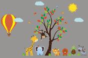 Hot Air Balloon Nursery Decals - Large Balloon Wall Sticker - Safari Animal Decals
