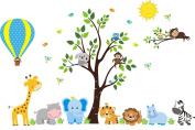 Hot Air Balloon Wall Decal - Cute Animal Stickers - Hot Air Balloon Sticker - Reusable