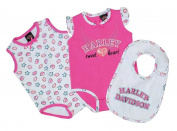 Harley-Davidson Baby Girls' Glittery Infant 2-Pack Creeper w/ Bib Set 3012609