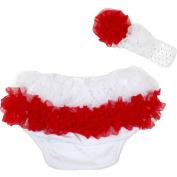 Poland Dress Baby White Red Ruffles Bloomer Headband Set 6-24m