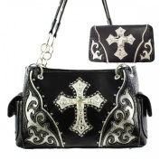 Western Rhinestone Cross Concealed Carry Gun Pocket Black Handbag Matching Flat Wallet Set