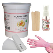 Sugaring Hair Removal Hard Paste for Bikini line, Brazilian, Underarms and Thick Hair Kit 1.3kg 1330ml - Includes - Sugaring Paste Jar, Anti-Ingrown Solution, Strips, Gloves and Applicators