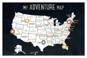 USA Adventure Wall Map Art Print, 46cm x 30cm , Black, Kid's USA Wall Map,children's Room Decor, Gender Neutral Nursery, Travel Nursery Decor,united States of America Map