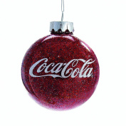 Kurt Adler CC4161 Coca-Cola Glittered Glass Ball Ornament, 80mm