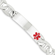 .925 Sterling Silver 12.00MM Red Enamel Medical Alert ID Anchor Link Bracelet 7.50 and 8.50 Inches