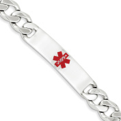 .925 Sterling Silver 11.00MM Red Enamel Medical Alert ID Curb Link Bracelet 7.50 and 8.50 Inches