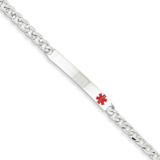 .925 Sterling Silver 5.00MM Red Enamel Medical Alert ID Curb Link Bracelet 7.50 and 8.50 Inches