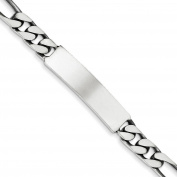 .925 Sterling Silver 8.00MM Antiqued Figaro Link ID Bracelet 7.00 and 8.00 Inches