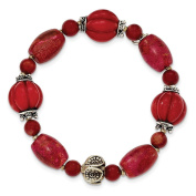 .925 Sterling Silver Antiqued Beads & Red Coral Stretch Bracelet