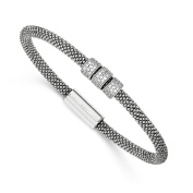 .925 Sterling Silver 4.00MM Rhodium-plated With CZ Mesh Bracelet 7.50 Inches