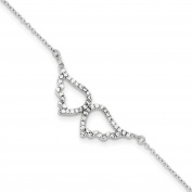 .925 Sterling Silver CZ Wings With 2.5cm Extension Bracelet 18cm