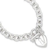 .925 Sterling Silver Polished Heart and Key Bracelet 7.50 and 22cm