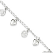 .925 Sterling Silver Polished Peace Sign and Heart Charm Bracelet 19cm