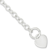 .925 Sterling Silver Heart Disc Toggle Bracelet 20cm