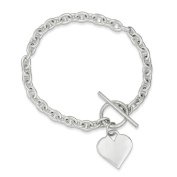 .925 Sterling Silver Heart Toggle Bracelet 20cm
