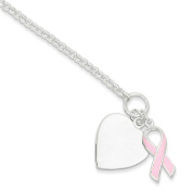 .925 Sterling Silver Fancy Heart with Enamel Pink Ribbon Bracelet 19cm